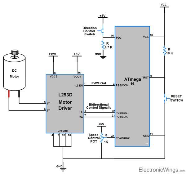 DC motor interfacing with AVR ATmega16/ATmega32 Schematic