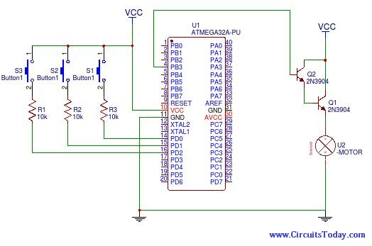 How to control DC motor speed using PWM on Atmega32 Schematic