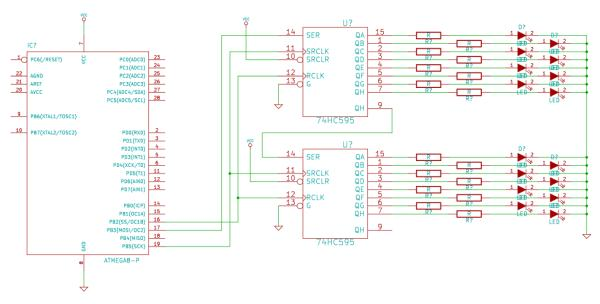 How to drive 595 shift registers with AVR hardware SPI
