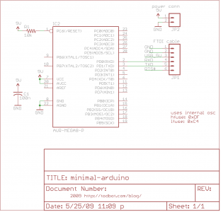 Minimal Arduino with ATmega8 Schematic