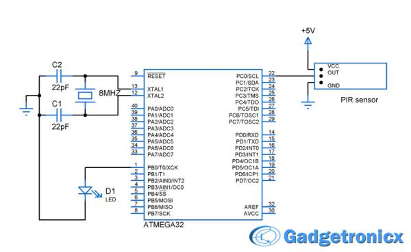PIR motion sensor interface with AVR-microcontroller ATMEGA32 Schematic