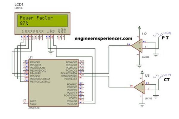 Power factor measurement using Atmel AVR Micro-Controllers Schematic