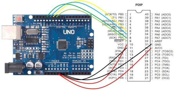 Programming ATMEGA32 (or Any Other AVR) Using Arduino IDE Schematic