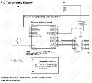 Schematic LED Dot Matrix Room Temperature Display using P10 and ATmega8