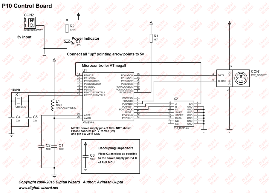 Schematic Making a LED Message Display with Keyboard Interface