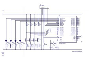 Handling the Digital Input Output in AVR Micro Controllers schematics
