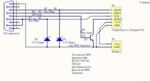 ISP Programmer for ATmega32 Microcontroller schematics