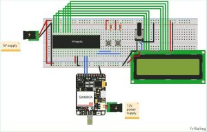 Interfacing GSM Module with AVR Microcontroller Send and Receive Messages schematics