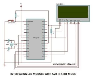 Interfacing LCD Module with AVR in 4-Bit Mode schematics
