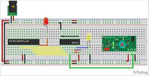 Interfacing RF module with Atmega8 Communication between two AVR Microcontrollers schematics