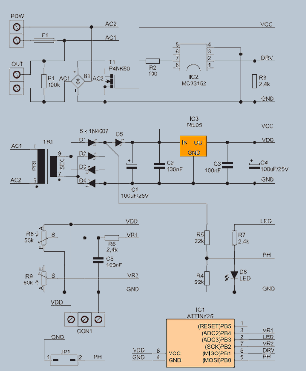230V FAN REGULATOR SCHEMATIC