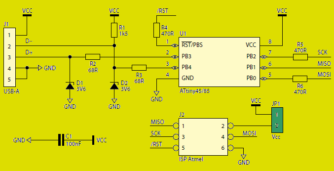 AVR USB PROGRAMMER SCHEMATIC DIAGRAM
