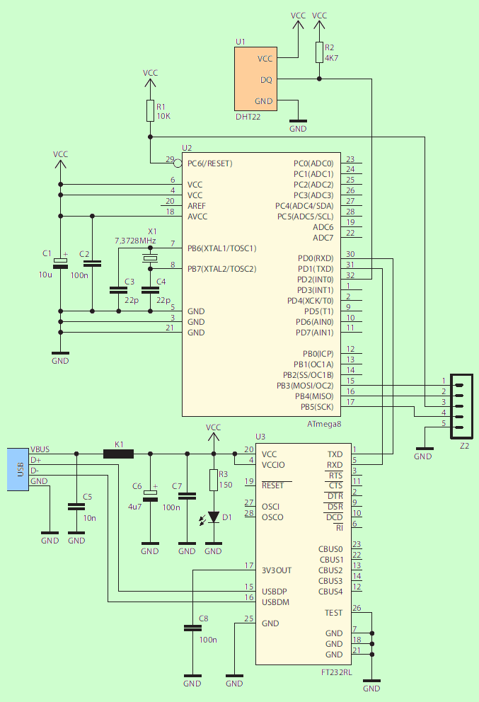 DHT22 THERMOMETER HYGROMETER CIRCUIT SCHEMATIC