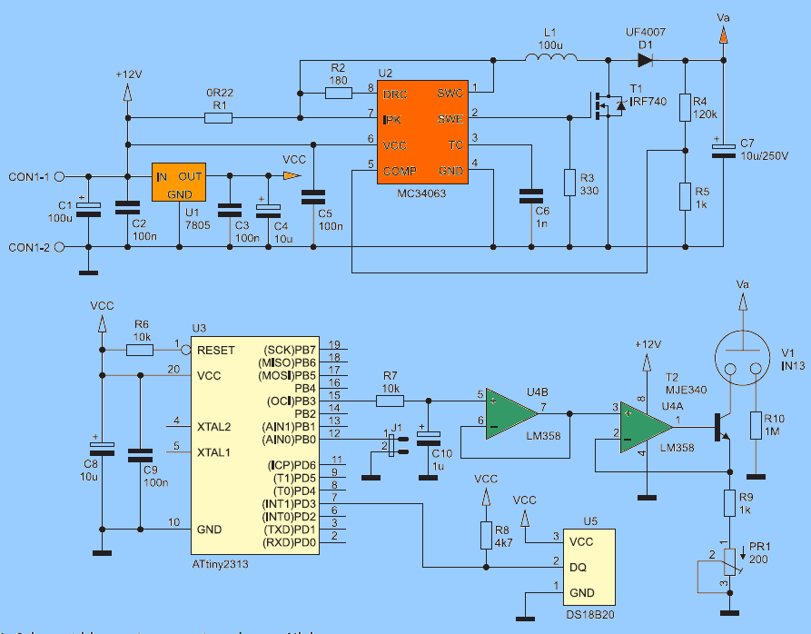 NIXIE THERMOMETER CIRCUIT DIAGRAM