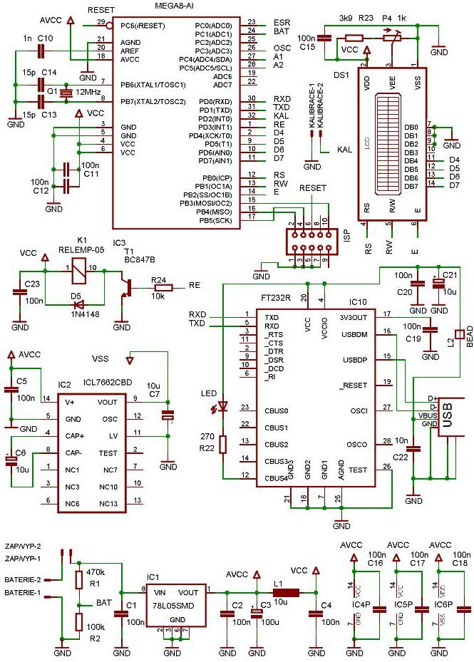 SCHEMATIC ATMEGA8 FT232R USB ESR METER CIRCUIT