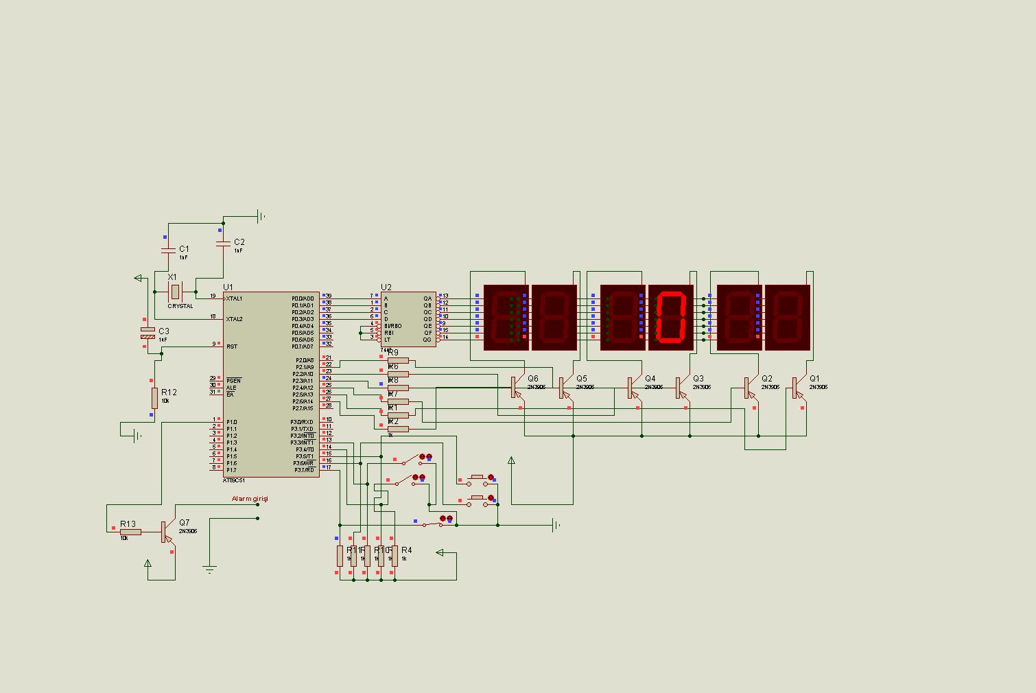 DIGITAL CLOCK SCHEMATIC DIAGRAM (2) - ATMega32 AVR
