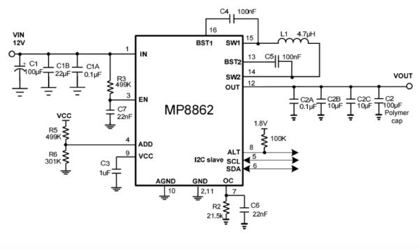 2.8Vin to 22Vin, 2A lout, 4-Switch Integrated Buck-Boost Converter with I2C Interface